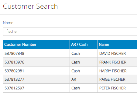 Cash column added to customer search results
